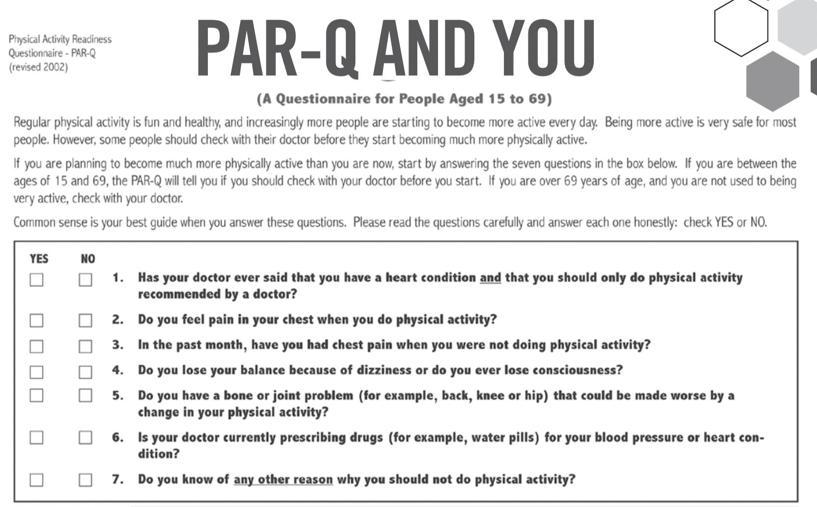 PAR-Q Health Form